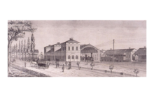 Illustration de la Gare de Wissembourg en 1857par les illustrateurs Ginter A et Wentzel J.F