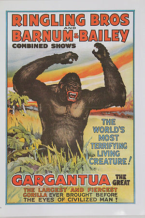 Gargantua (gorilla) - Frank Buck, star attraction of the Circus, 1938, introduced Gargantua at every performance.