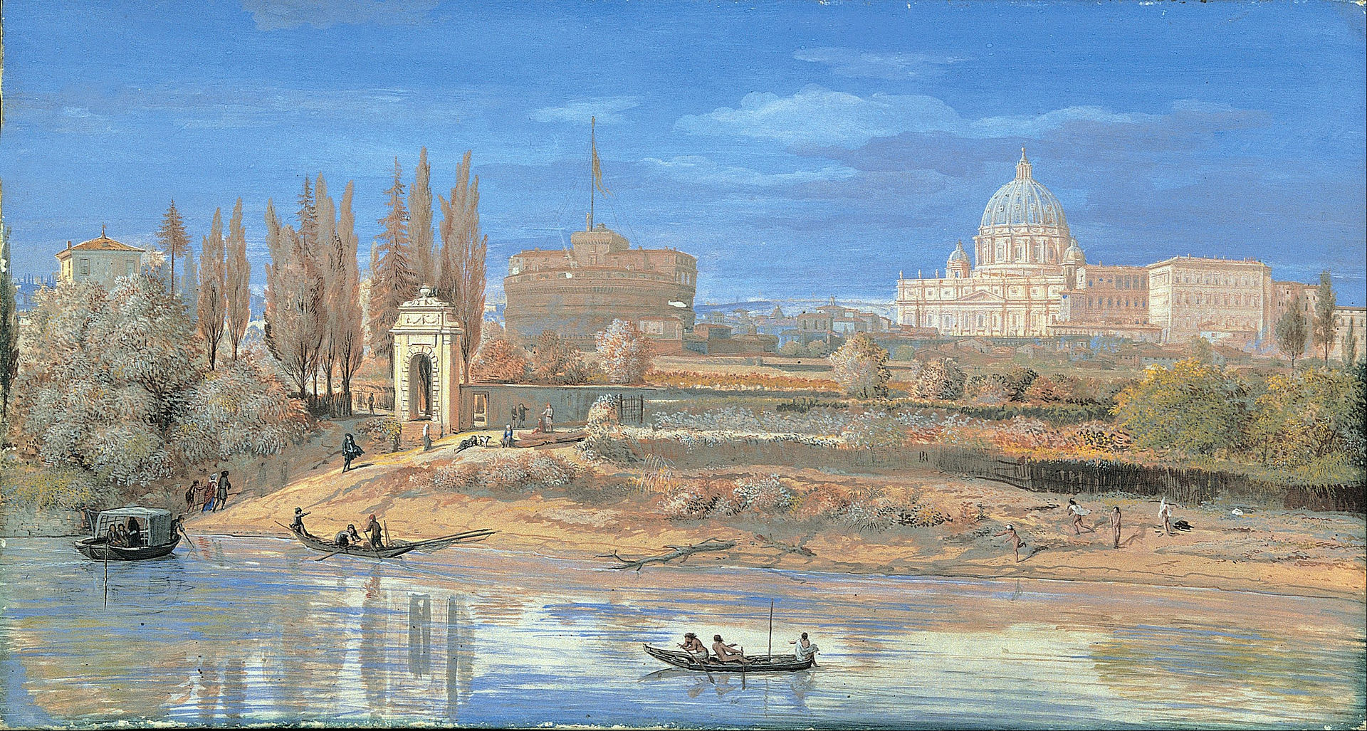 Гаспар ван Виттель - Вид на замок Сант-Анджело и Ватикан со стороны Прати-ди-Кастелло - Google Art Project.jpg