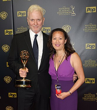 Anthony Geary - Anthony Geary holding his 8th Daytime Emmy next to General Hospital Online creator May Lee, April 26, 2015