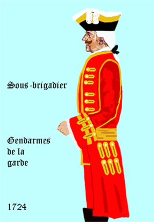 Gendarme (historical) - Uniform of a Sous-Brigadier in 1724