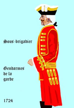 Gendarme (historical) - Uniform of a Sous-Brigadier in 1724