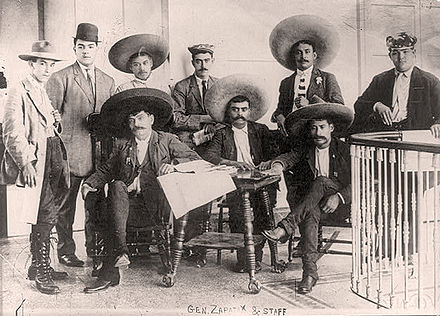 Zapata and his staff General emiliano zapata staff.jpg