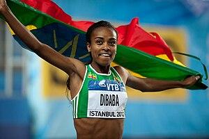 2012 IAAF World Indoor Championships – Women's 1500 metres - Genzebe Dibaba celebrating her win.