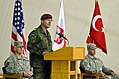 German Army Maj. Gen. Volker Halbauer, center, the commander of the NATO-led Kosovo Forces, addresses the audience at the Joint Readiness Detachment-East transfer of authority ceremony May 26, 2013, at Camp 130526-A-ED406-264.jpg