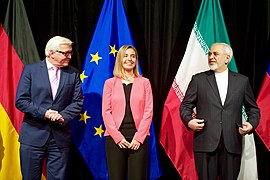 German Foreign Minister Steinmeier, EU High Representative Mogherini, and Iranian Foreign Minister Zarif Stand for a Group Photo After EU, P5+1 Reached Iran Nuclear Agreement in Austria.jpg
