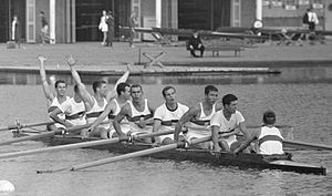 Klaus Aeffke - German team at the 1964 European Championships (the same team competed at the 1964 Olympics), Aeffke is second from right.