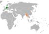 Lage von Deutschland und Myanmar