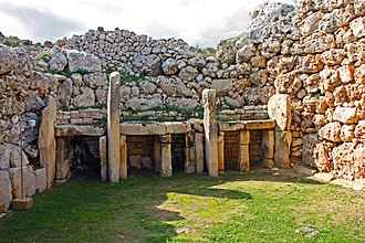 Stone Age - Ġgantija temples in Gozo, Malta, some of the world's oldest free-standing structures