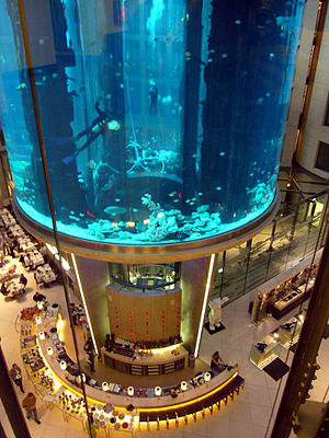 A giant fish tank in Berlin. It is part of an ...