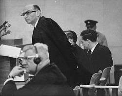 Gideon Hausner and Robert Servatius at the Eichmann trial USHMM No 65284.jpg