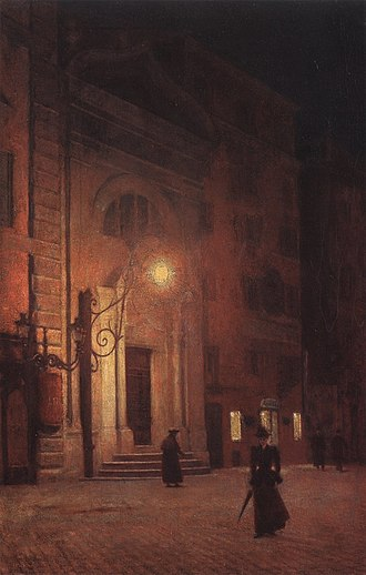 Wittelsbach Square at night, 1890, by Gierymski Aleksander Gierymski Aleksander-Ulica noca.jpg