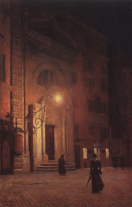Wittelsbach Square at night, 1890, by Gierymski Aleksander