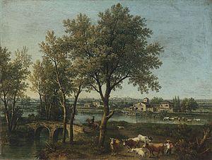 Giovanni Battista Cimaroli - River landscape with shepherds and flock