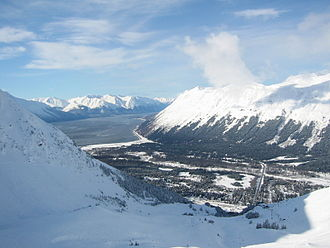 Girdwood, Anchorage - The valley, as viewed from Mount Alyeska.  The Alyeska Highway can be seen at right running across the valley.