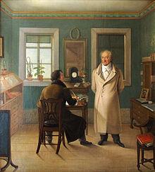 Goethe diktiert in seinem Arbeitszimmer dem Schreiber John. Ölgemälde von Johann Joseph Schmeller, 1834 (Quelle: Wikimedia)