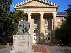 Goldwin Smith Hall and the A.D. White statue