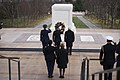 Governor General of Canada lays a wreath at the Tomb of the Unknown Soldier and the Canadian Cross of Sacrifice at Arlington National Cemetery (24317429393).jpg