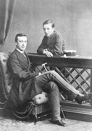 Grand Duke Michael Mikhailovich of Russia -  Grand Duke Michael (on the right) with his eldest brother Nicholas, Baden, 1876.