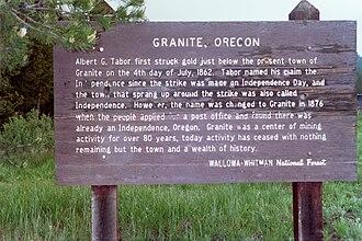 Granite, Oregon - Sign describing Granite's origin