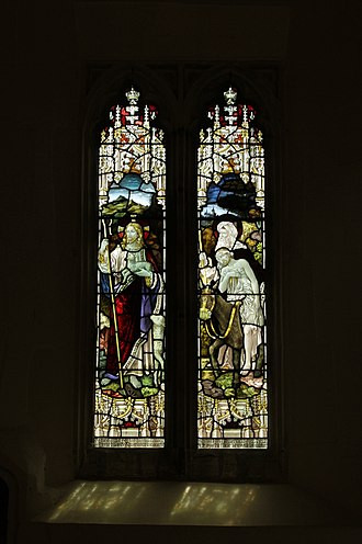Great Coxwell - Gothic Revival stained glass window in St Giles' parish church in memory of Rev. John Hope Hooper, who served the parish 1878–99 first as curate and then as vicar