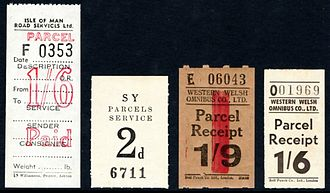 Parcel stamp - Road transport private parcel service stamps from Great Britain. Circa mid twentieth century.