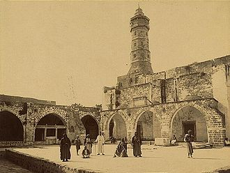 Great Mosque of Gaza - Courtyard, arcades and minaret of the mosque, late 19th century