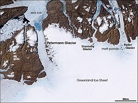 Vue satellite du glacier Petermann