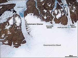 English: Petermann Glacier, Greenland, observe...