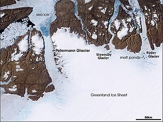 Petermann Glacier - NASA satellite image.
