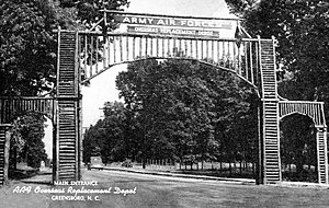 Army Air Forces Training Command - Entrance gate to the Greensboro Center, welcoming new recruits to the United States Army Air Forces