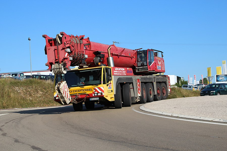 Demag cranes on the D619 road in Chaumont, Haute-Marne, France.