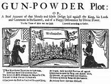 "Three illustrations in a horizontal alignment.  The leftmost shows a woman praying, in a room.  The rightmost shows a similar scene.  The centre image shows a horizon filled with buildings, from across a river.  The caption reads ""Westminster"".  At the top of the image, ""The Gunpowder Plot"" begins a short description of the document's contents."