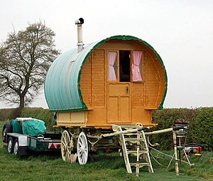 Romani people - A Gypsy wagon pictured in 2009 in Grandborough Fields (Grandborough Fields Road is a popular spot for travelling people)