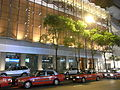 HK Central night 皇后大道中 Queen's Road Landmark sidewalk carpark Taxi Sept-2010.JPG
