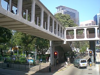 Tin Chiu Street - Skyway at the intersection of King's Road and Tin Chiu Street. The entrance of King's Road Playground is visible on the left.