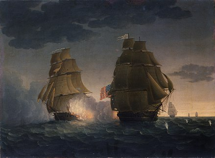 The capture of USS President was the last naval duel to take place during the conflict, with its combatants unaware of the signing of the Treaty of Ghent several weeks prior HMS Endymion yaws to rake USS President.jpg