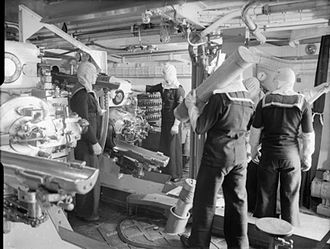 BL 6 inch Mk XXIII naval gun - Handling cordite charges inside a Mk XXIII turret aboard HMS Jamaica'', 1943