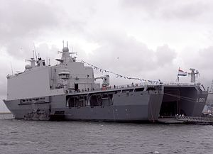 HNLMS Johan de Witt (L801) - Johan de Witt, disembarked Landing Craft Utility and two empty LCVP davits