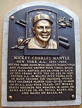 759b6bdfe20d8 Mantle s plaque at the Baseball Hall of Fame in Cooperstown
