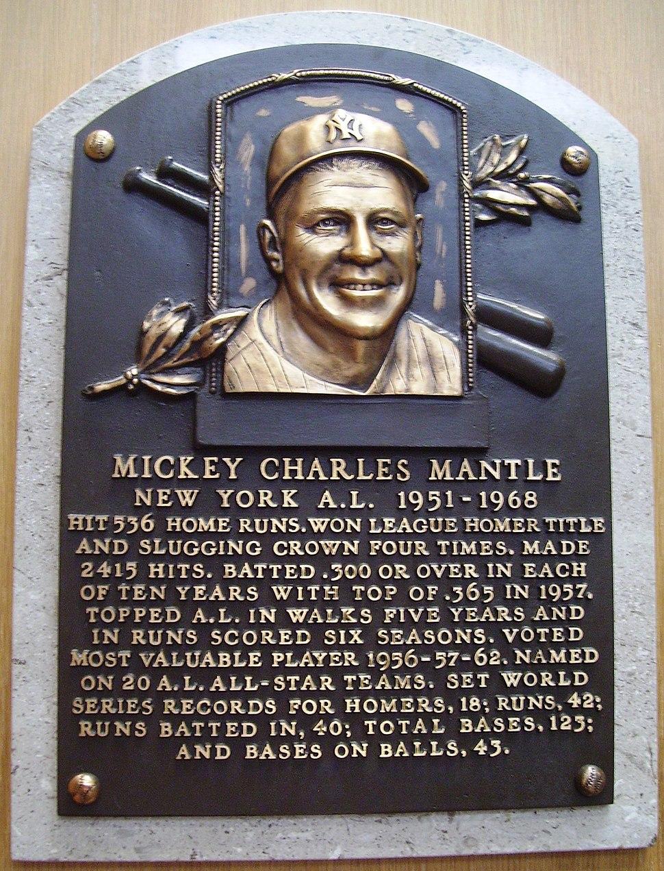 HOF Mantle Mickey plaque