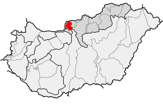Börzsöny - Location of Börzsöny (red) within physical subdivisions of Hungary