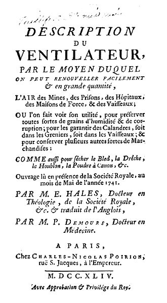 Stephen Hales - Description du ventilateur (French edition of Description of ventilators), 1744
