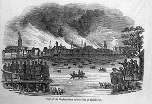 "Great fire of Hamburg - ""View of the Conflagration of the City of Hamburgh"", Illustrated London News, week ending May 11, 1842"
