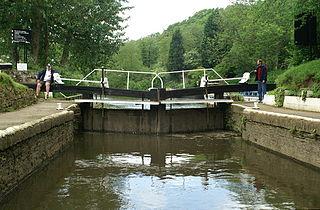 Hanham Lock canal lock situated on the River Avon, at the village of Hanham near Bristol, England