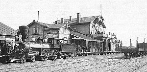 History of rail transport in Finland - A Baldwin 4-4-0 at Hanko railway station in 1893