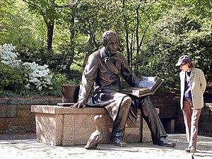 Georg J. Lober -  Statue of Hans Christian Andersen, by Georg John Lober, Central Park in New York City