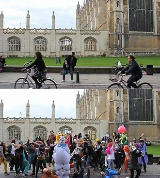Harlem Shake (meme) - Cambridge, UK; images of one of 4000 videos a day uploaded at the peak of the meme's popularity.