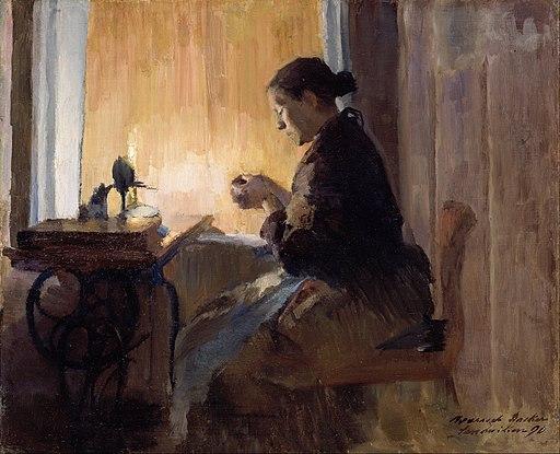 Harriet Backer - By Lamp Light - Google Art Project