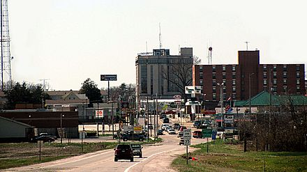Harrisburg downtown (Crusoe's Island) as seen from far east Poplar Street (Route 13).